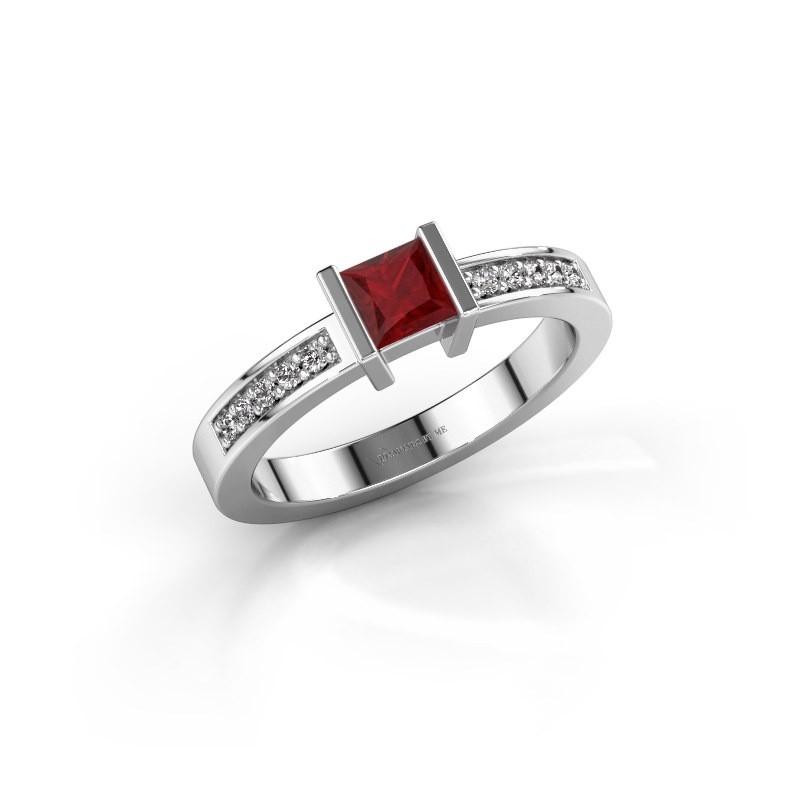 Engagement ring Jordan 950 platinum ruby 4 mm