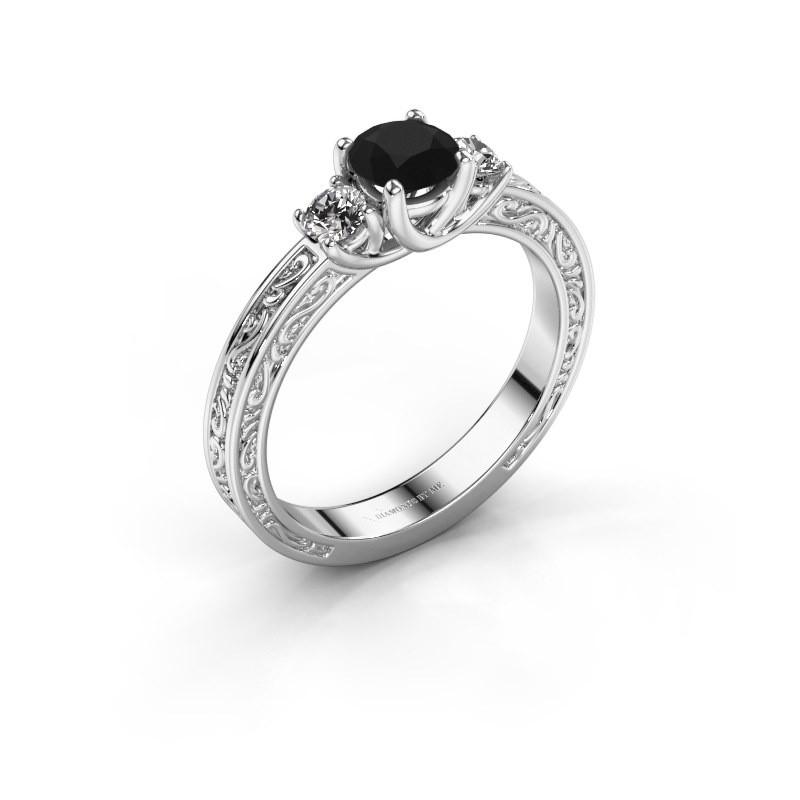Verlovingsring Betty 1 925 zilver zwarte diamant 0.80 crt