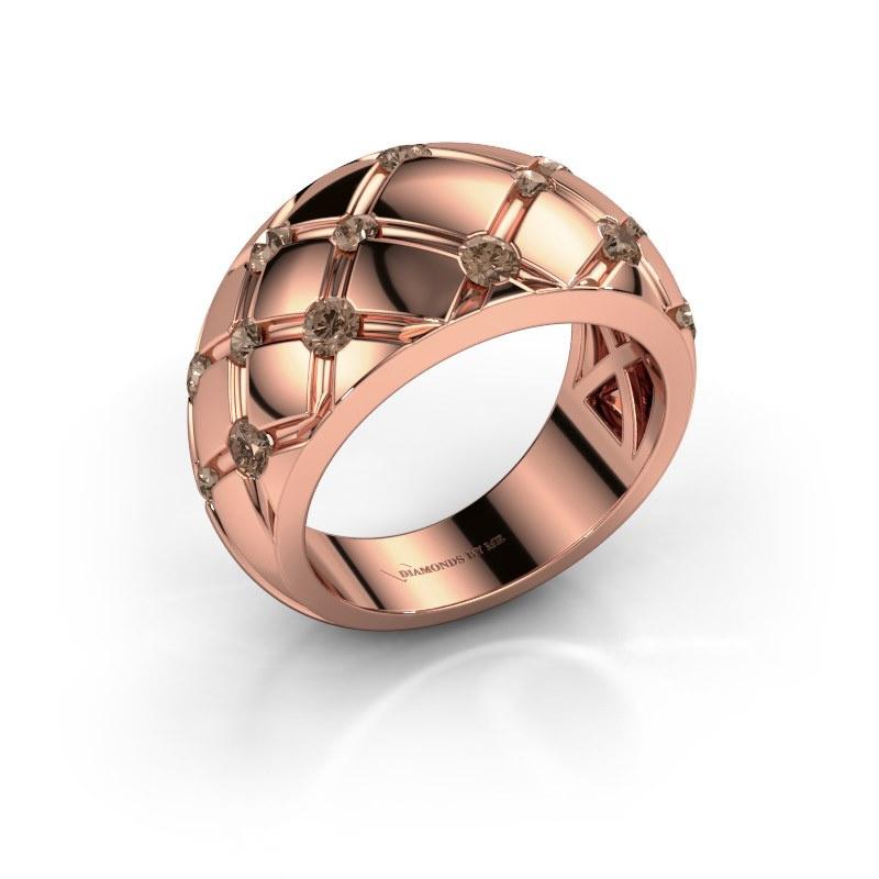 Bague Imke 585 or rose diamant brun 0.78 crt