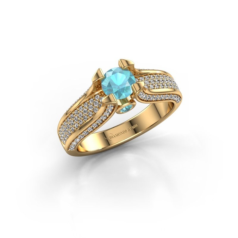 Verlovingsring Jeanne 2 375 goud blauw topaas 5 mm