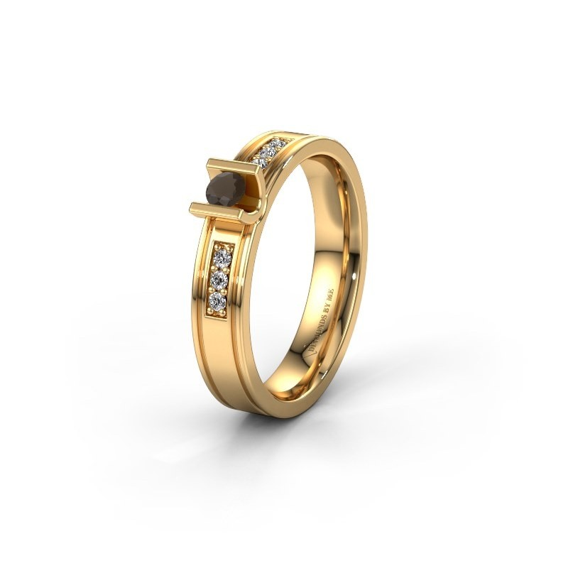 Trouwring WH2108L14A 585 goud rookkwarts ±4x1.7 mm