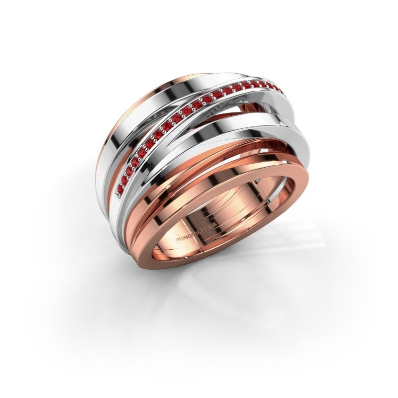Ring Swinda 585 rosé goud robijn 1 mm