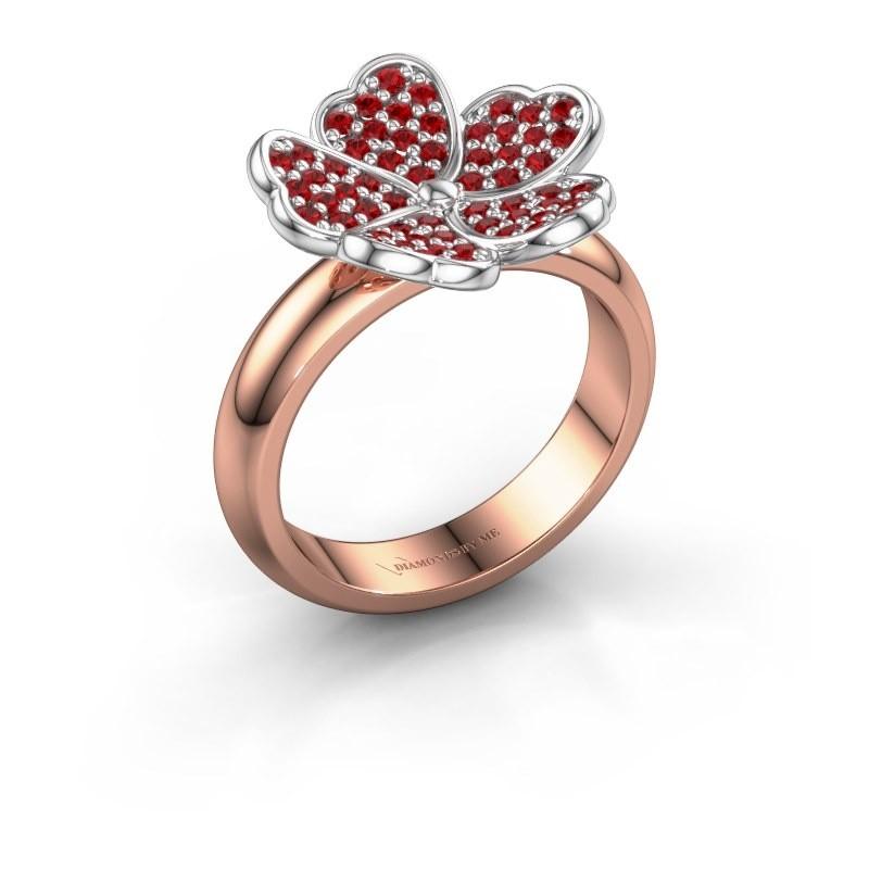 Ring Daphne 585 rosé goud robijn 1.2 mm