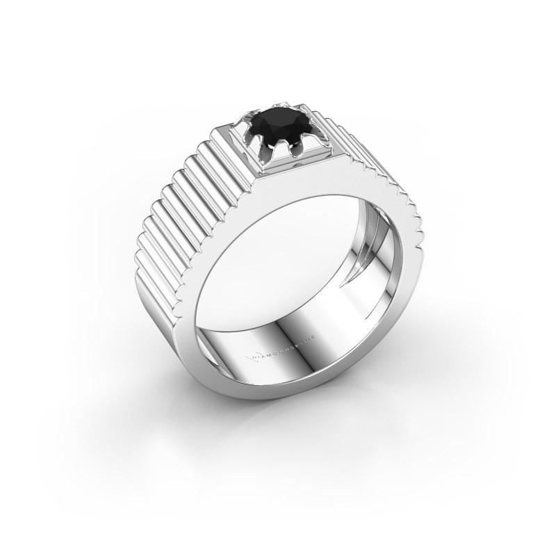 Pink ring Elias 585 witgoud zwarte diamant 0.60 crt