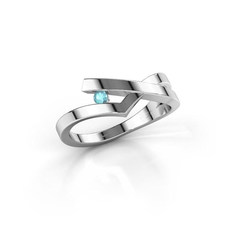 Ring Pamella 585 witgoud blauw topaas 2.2 mm