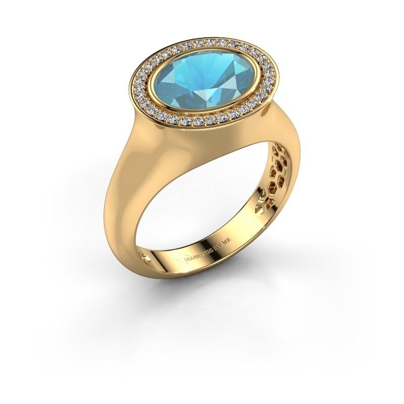 Ring Phebe 585 goud blauw topaas 10x8 mm