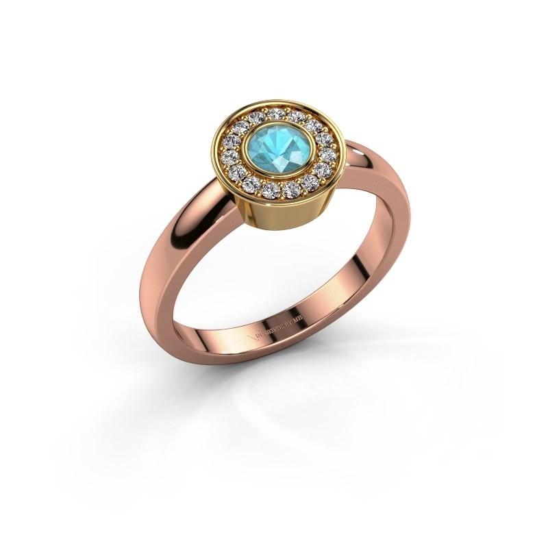 Ring Adriana 1 585 rosé goud blauw topaas 4 mm