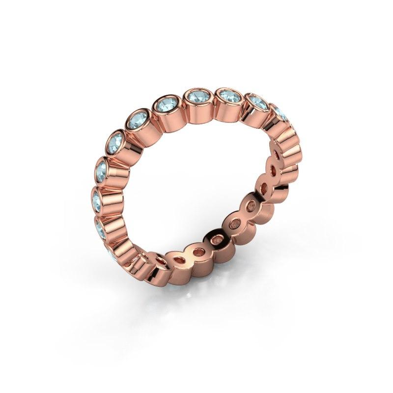 Ring Liz 585 rosé goud aquamarijn 2 mm