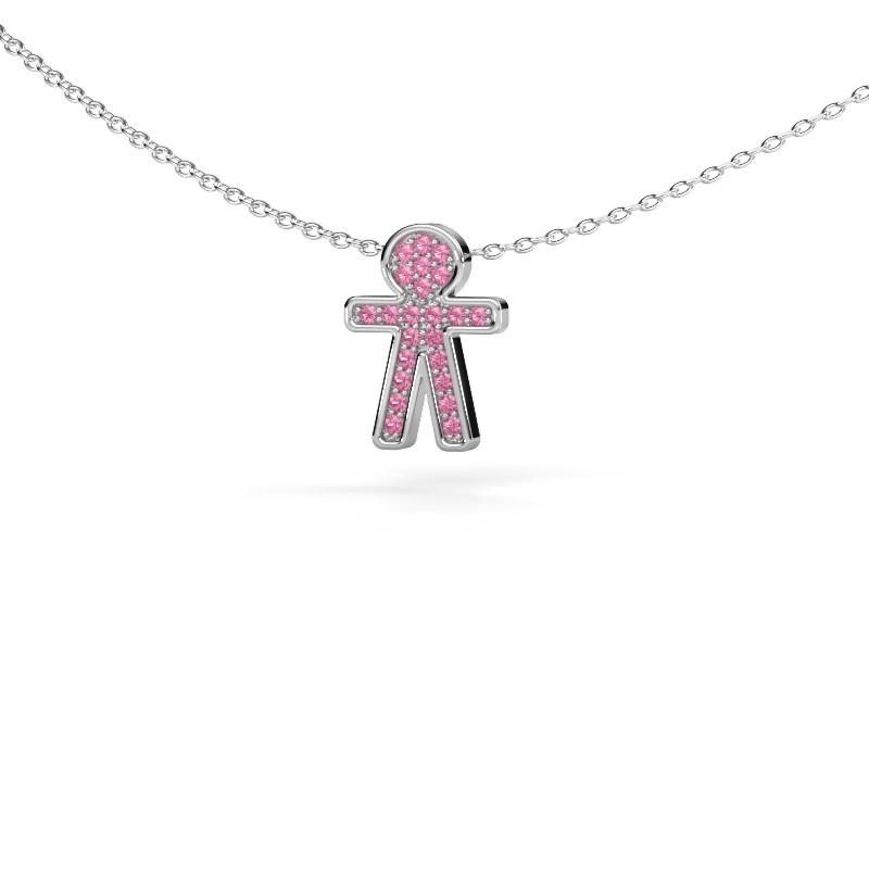 Hanger Boy 585 witgoud roze saffier 1 mm