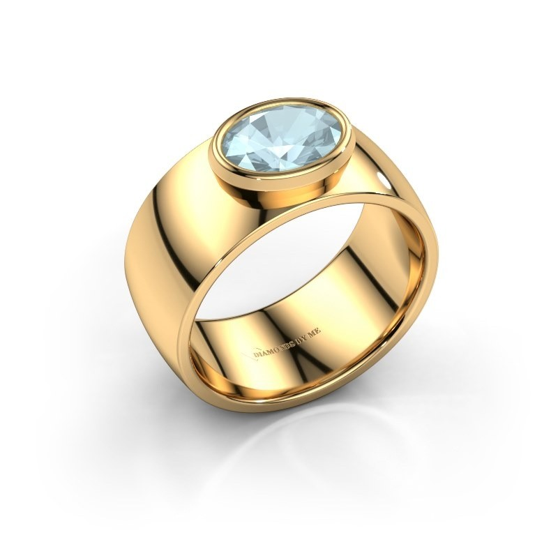 Ring Wilma 1 585 goud aquamarijn 8x6 mm