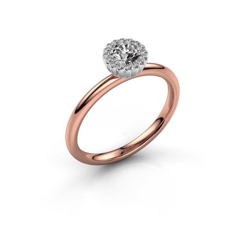 Verlovingsring Queen 585 rosé goud diamant 0.38 crt