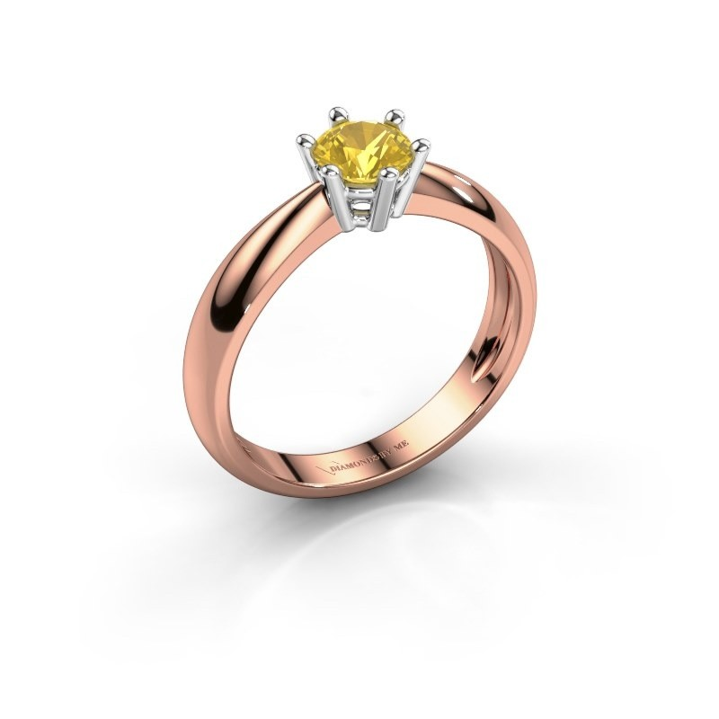 Verlovingsring Fay 585 rosé goud gele saffier 5 mm
