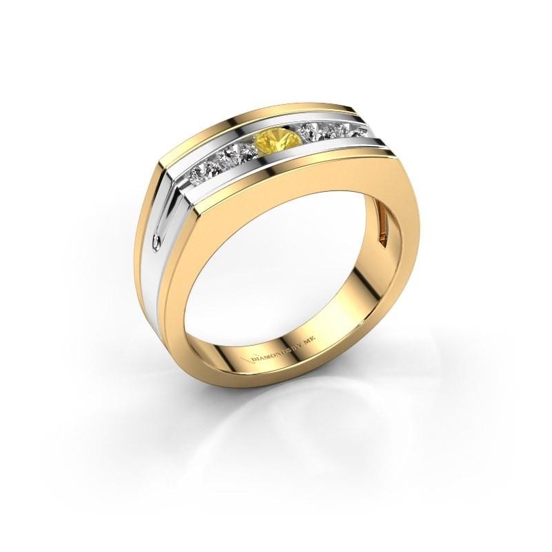 Heren ring Huub 585 goud gele saffier 3.7 mm