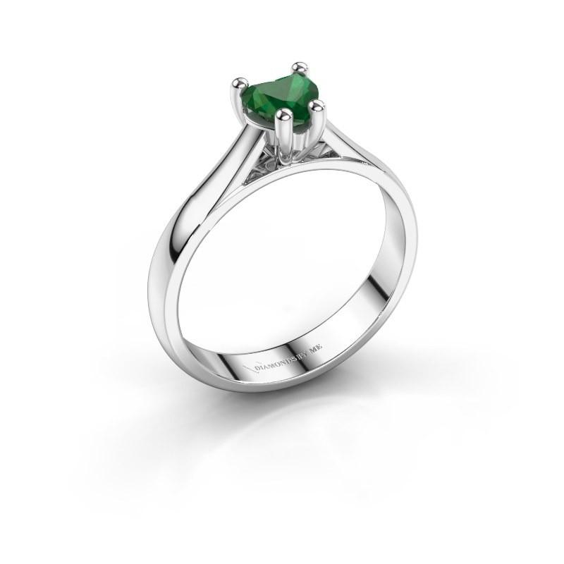 Verlobungsring Sam Heart 925 Silber Smaragd 5 mm