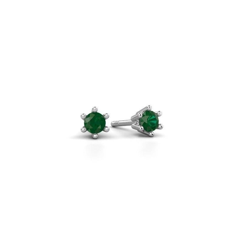 Oorbellen Fay 585 witgoud smaragd 3.4 mm