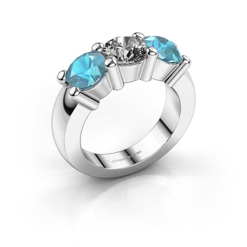 Verlobungsring Yasmin 3 585 Weißgold Diamant 1.00 crt