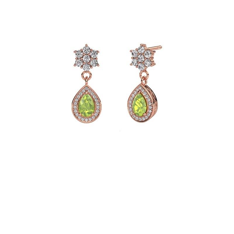 Drop earrings Era 585 rose gold peridot 6x4 mm