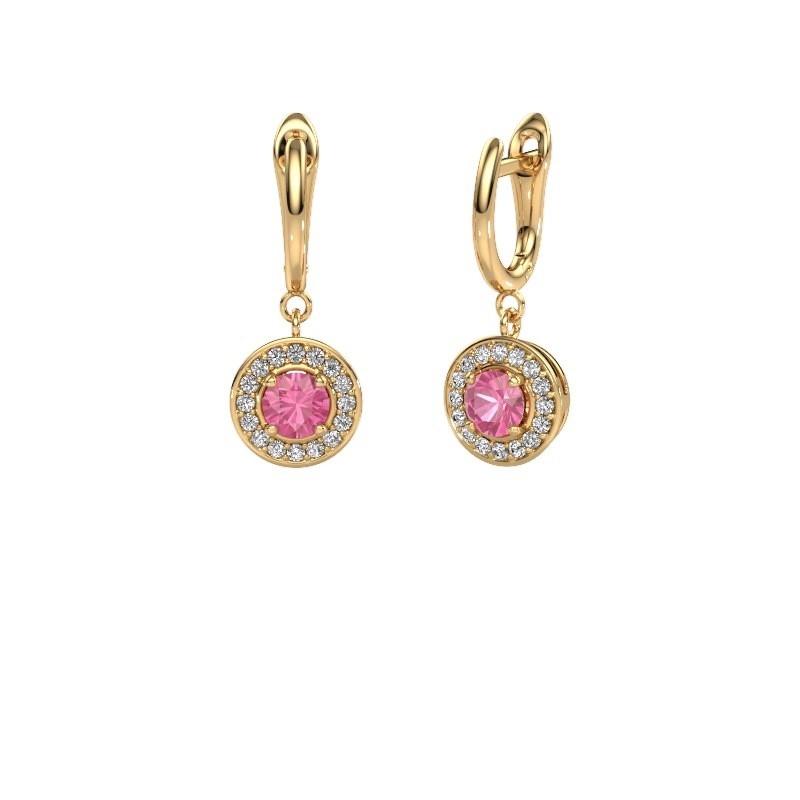 Oorhangers Ninette 1 585 goud roze saffier 5 mm