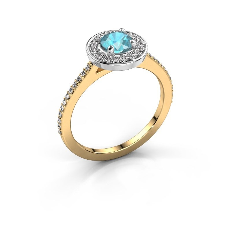 Ring Agaat 2 585 gold blue topaz 5 mm