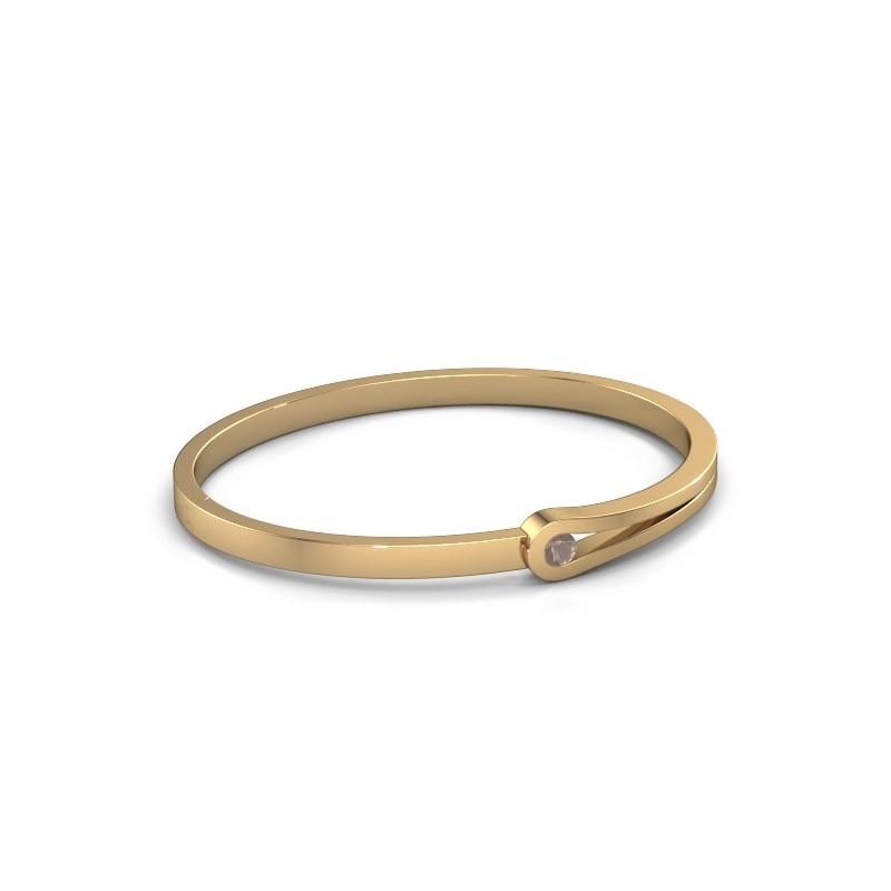 Bracelet jonc Kiki 585 or jaune quartz fumé 4 mm