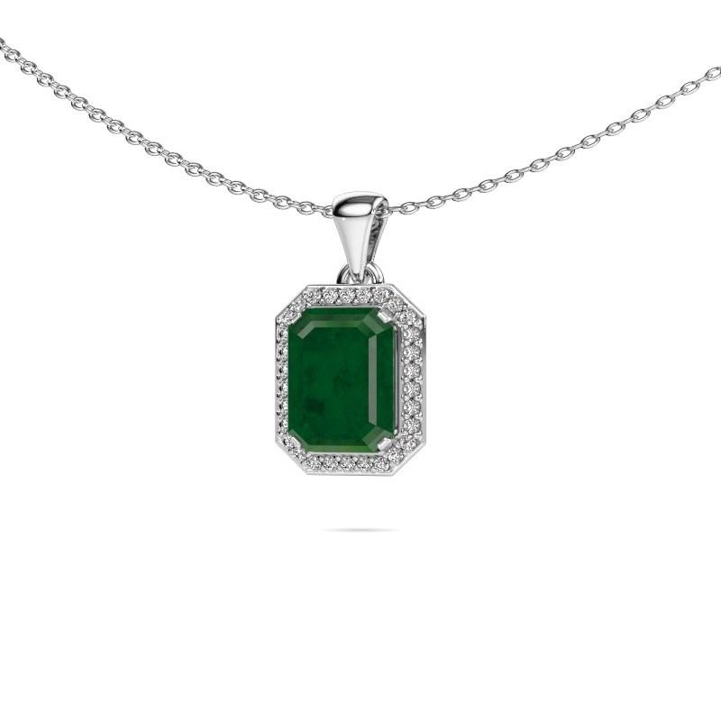 Ketting Dodie 585 witgoud smaragd 9x7 mm