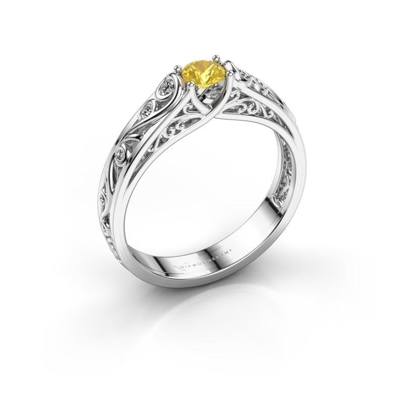 Ring Quinty 950 platina gele saffier 4 mm