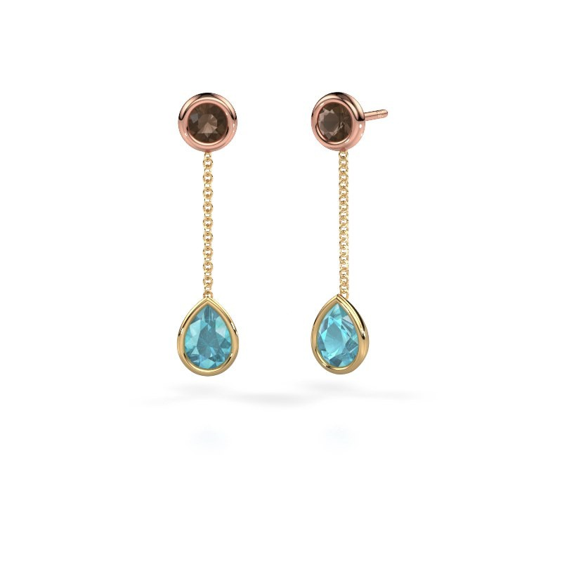Drop earrings Ladawn 585 gold blue topaz 7x5 mm