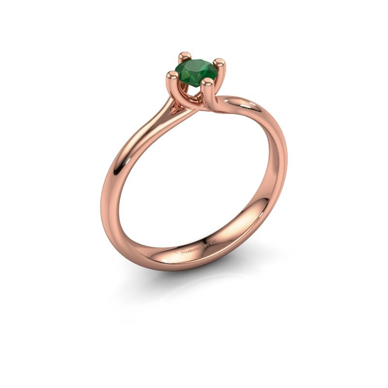 Engagement ring Dewi Round 375 rose gold emerald 4 mm
