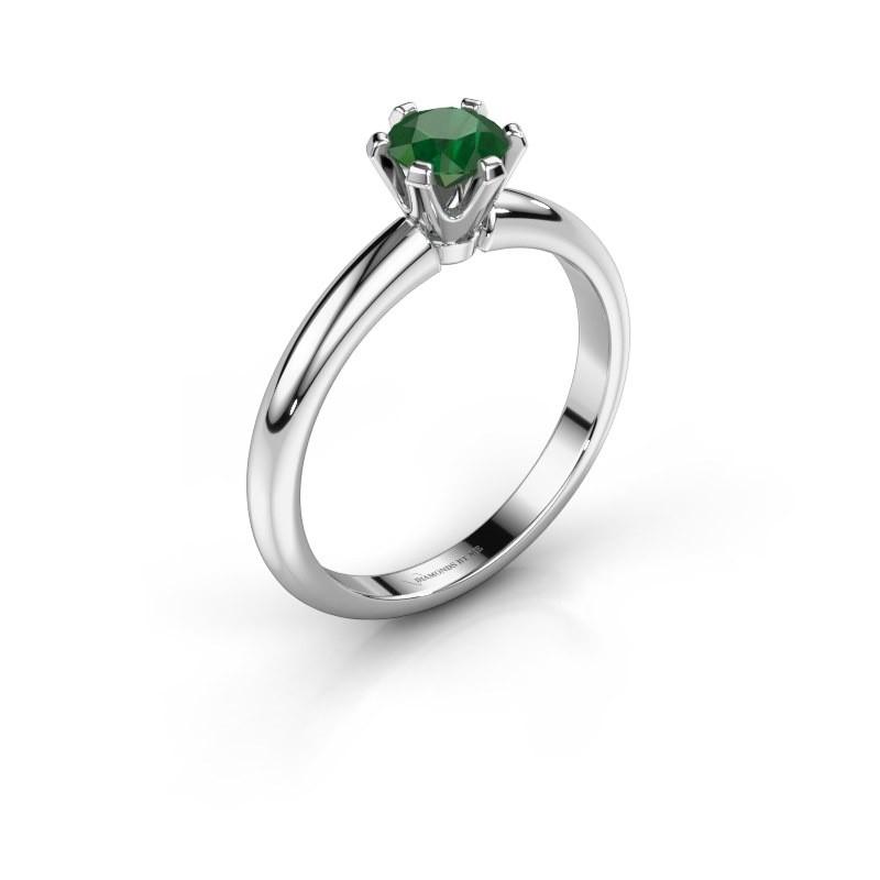 Verlovingsring Tiffy 1 950 platina smaragd 5 mm