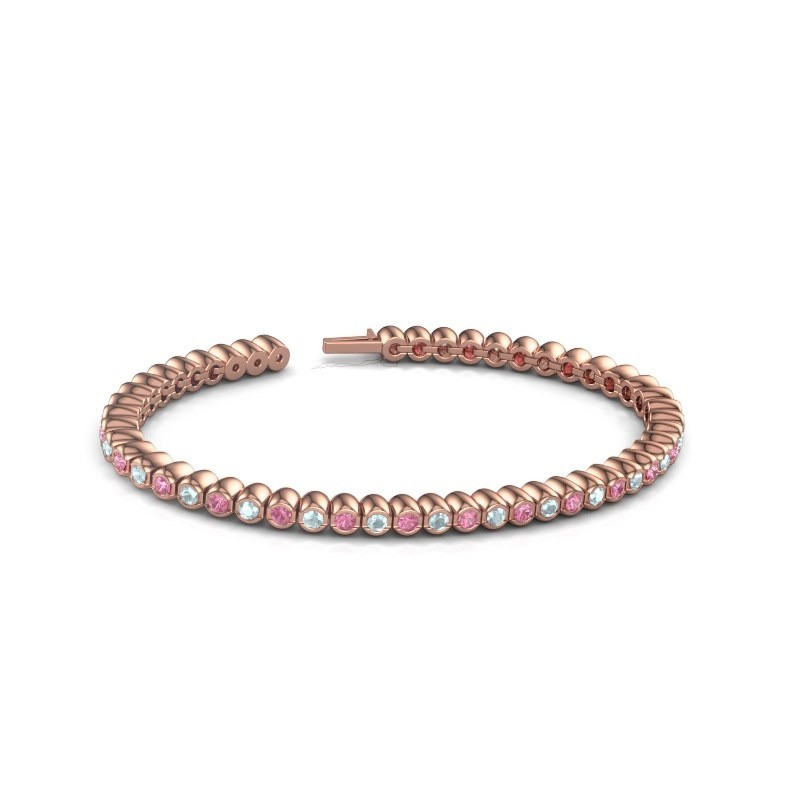 Tennisarmband Patrica 375 rosé goud roze saffier 2.4 mm