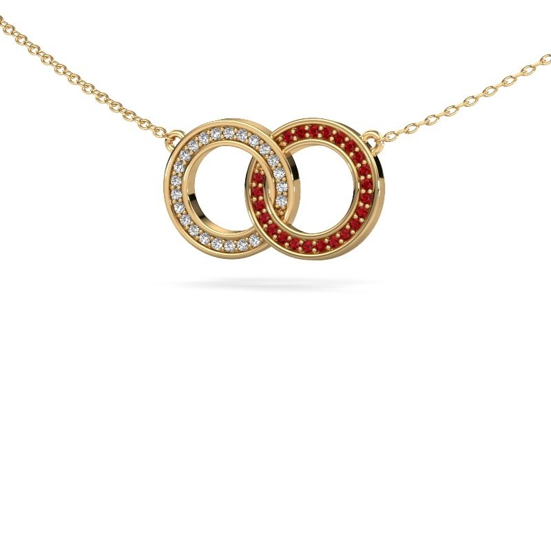 Ketting Circles 1 375 goud robijn 1 mm