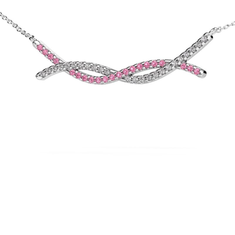 Collier barre Breanne 925 argent saphir rose 1.2 mm