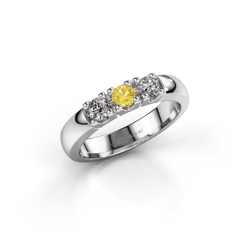 Engagement ring Rianne 3 585 white gold yellow sapphire 3.4 mm