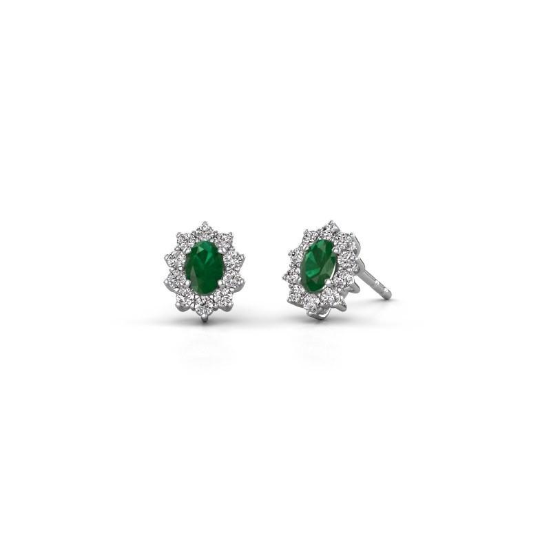 Earrings Leesa 585 white gold emerald 6x4 mm