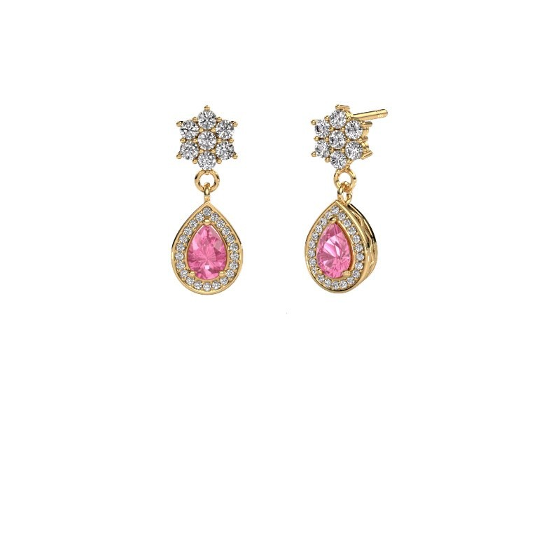 Drop earrings Era 375 gold pink sapphire 6x4 mm