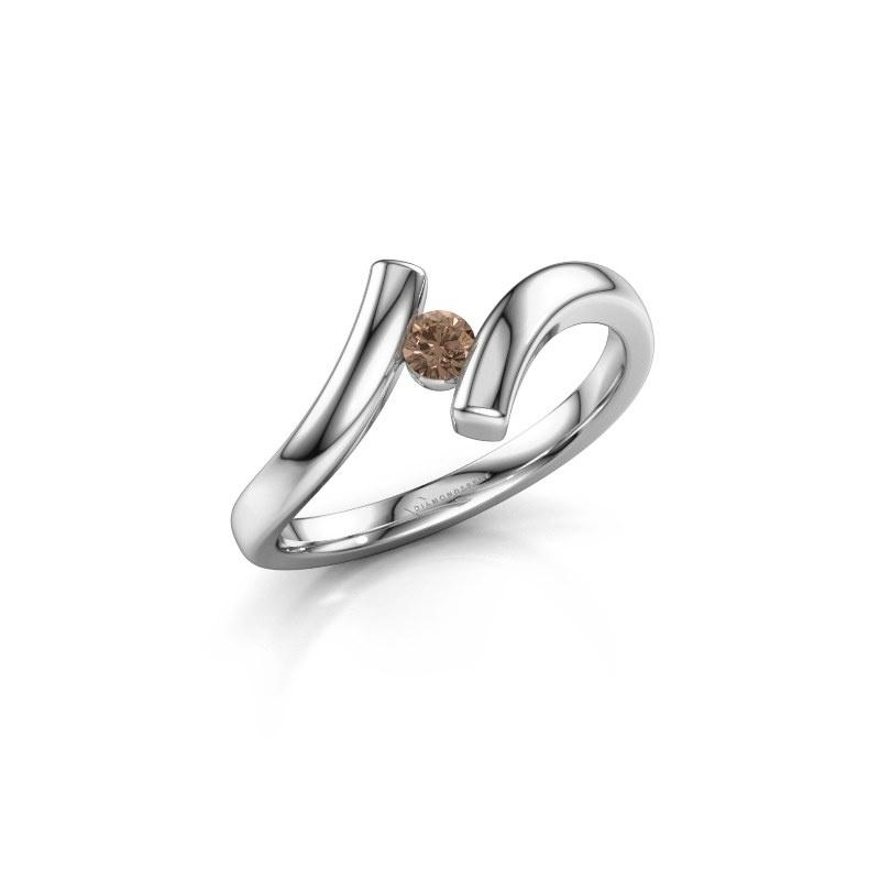 Ring Amy 585 witgoud bruine diamant 0.10 crt