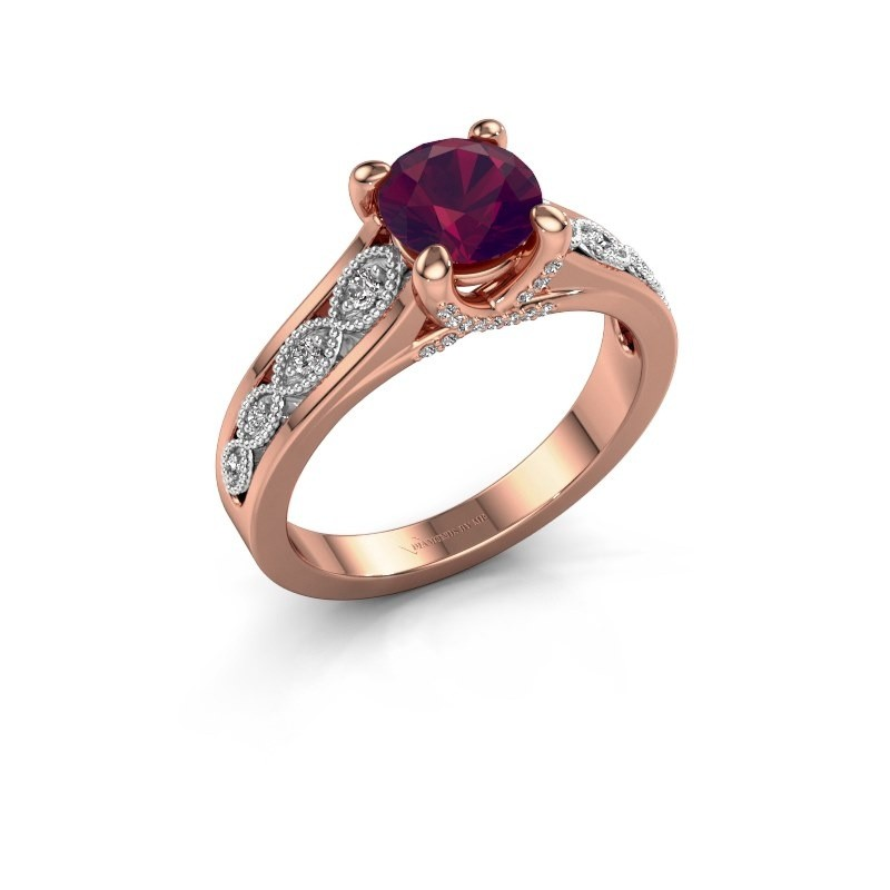 Engagement ring Clarine 585 rose gold rhodolite 6.5 mm