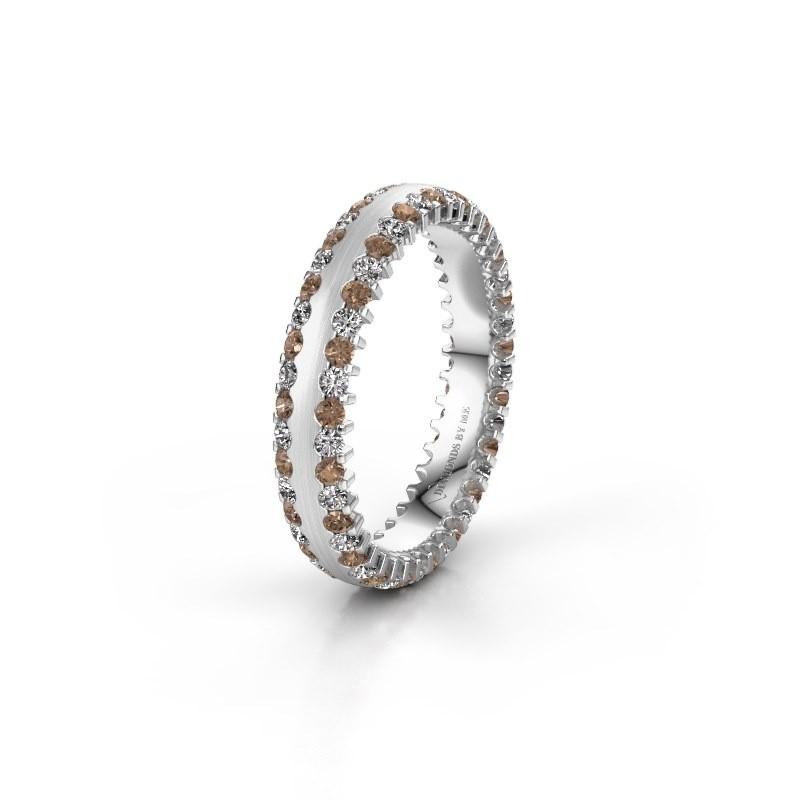 Trouwring WH2139L24B 950 platina bruine diamant ±4x2 mm