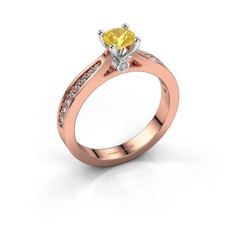 Verlovingsring Evelien 585 rosé goud gele saffier 5 mm