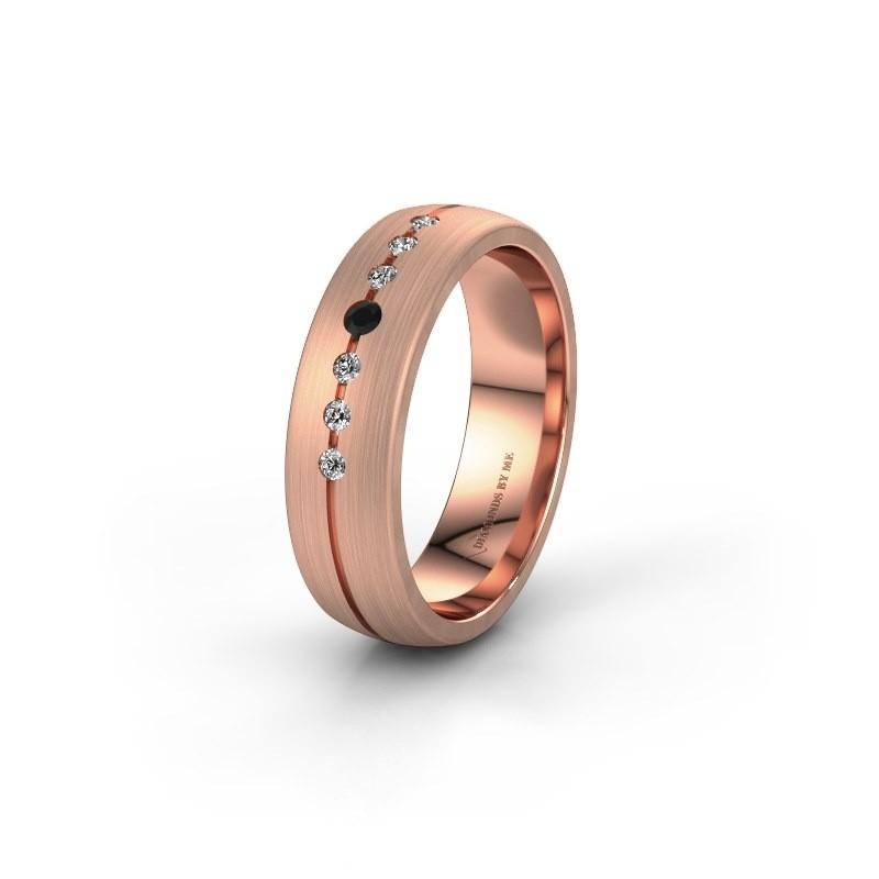 Trouwring WH0162L25A 375 rosé goud zwarte diamant ±5,5x1.7 mm