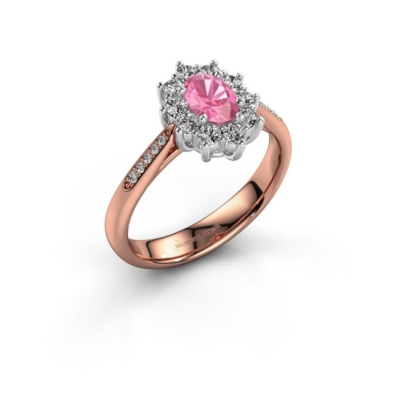 Verlovingsring Leesa 2 585 rosé goud roze saffier 6x4 mm