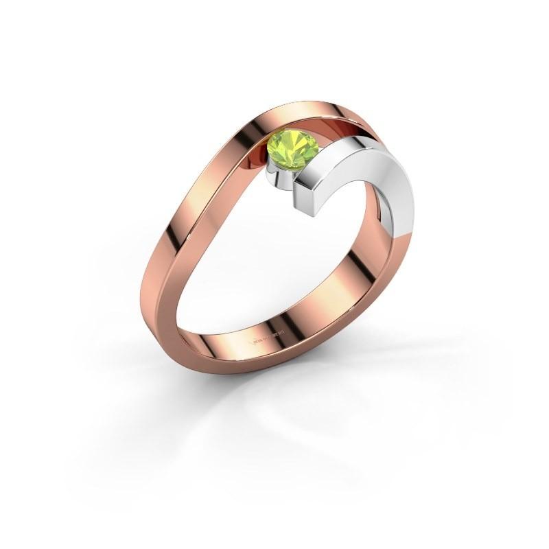 Ring Evalyn 1 585 rosé goud peridoot 3.7 mm