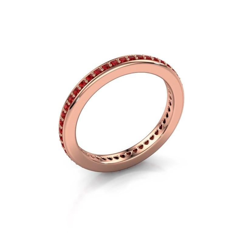 Aanschuifring Elvire 2 375 rosé goud robijn 1.2 mm