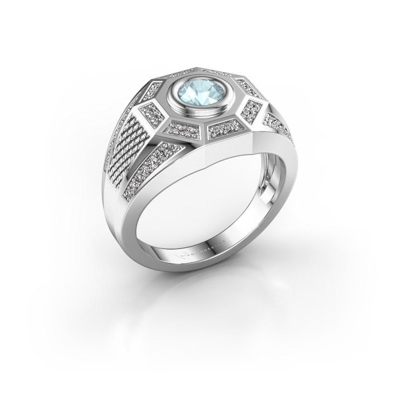 Heren ring Enzo 375 witgoud aquamarijn 5 mm