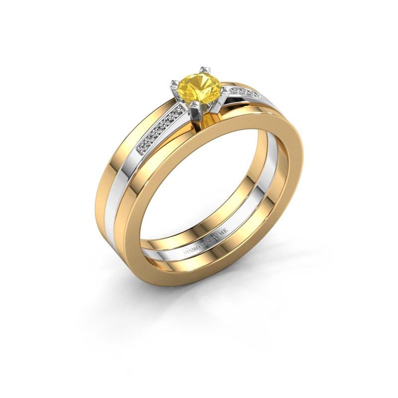 Verlobungsring Celeste 585 Weißgold Gelb Saphir 4 mm
