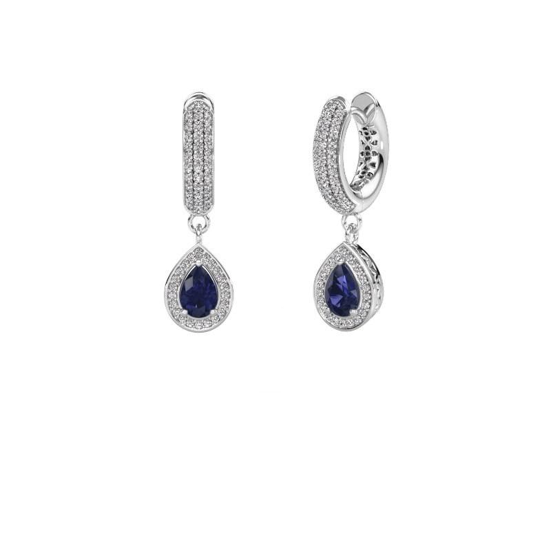 Drop earrings Barbar 2 950 platinum sapphire 6x4 mm
