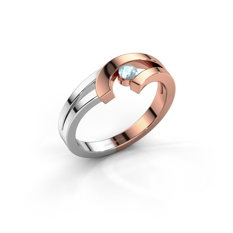Ring Yentl 585 rosé goud aquamarijn 3 mm