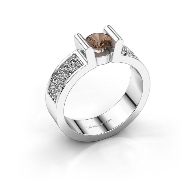 Verlovingsring Sofie 3 375 witgoud bruine diamant 0.50 crt