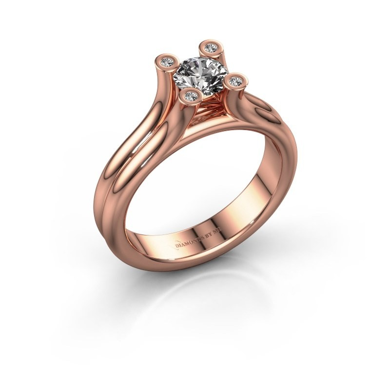 Engagement ring Stefanie 1 375 rose gold zirconia 5 mm