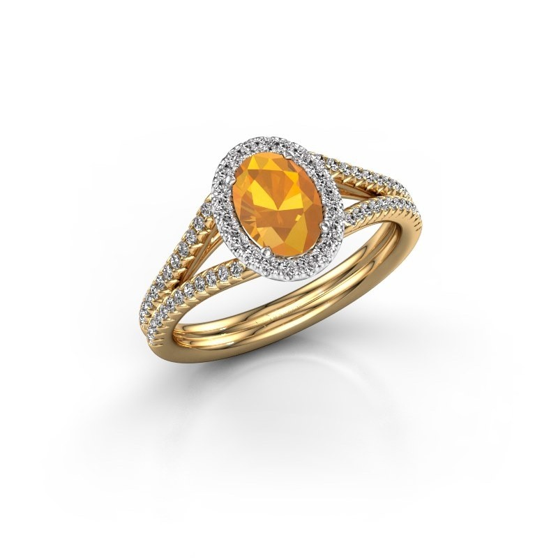 Engagement ring Rachele 2 585 gold citrin 7x5 mm